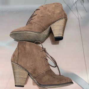 Mia Taupe Nova Suede Heel Lace Up Ankle Boots